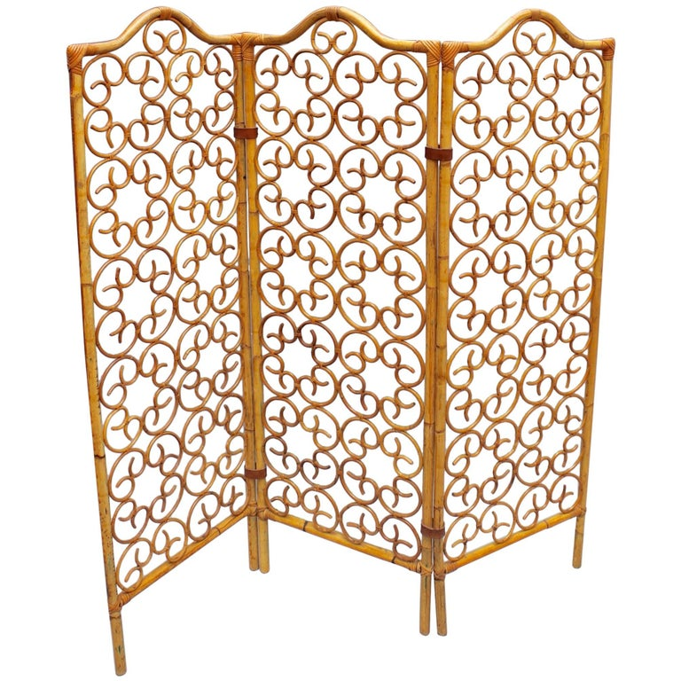 French Rattan Room Divider, circa 1960s For Sale