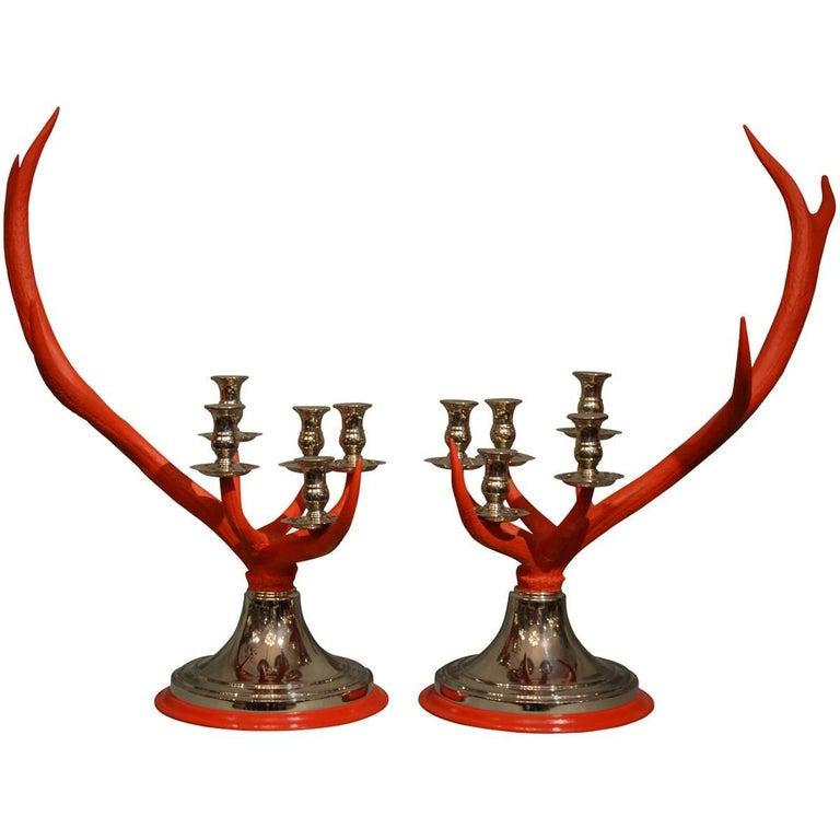 Anthony Redmile Scottish Stag Red Deer Antler Candlesticks