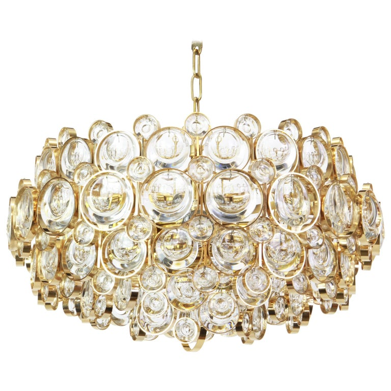 Gilt Brass and Crystal Chandelier, Sciolari Design by Palwa, Germany, 1970s