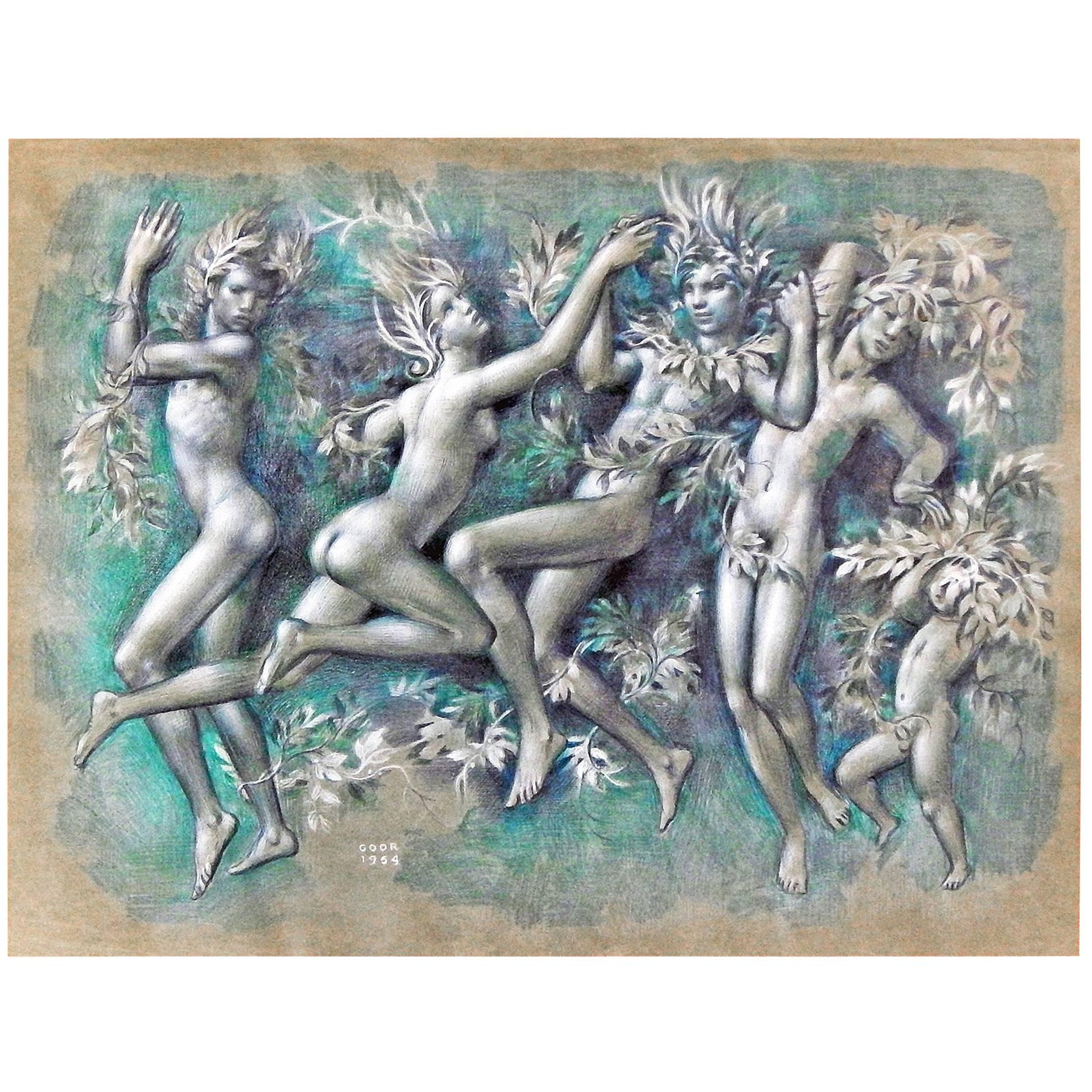 """""""Spring Frolic,"""" Rare Drawing with Nudes by Gaston Goor, Late Art Deco"""