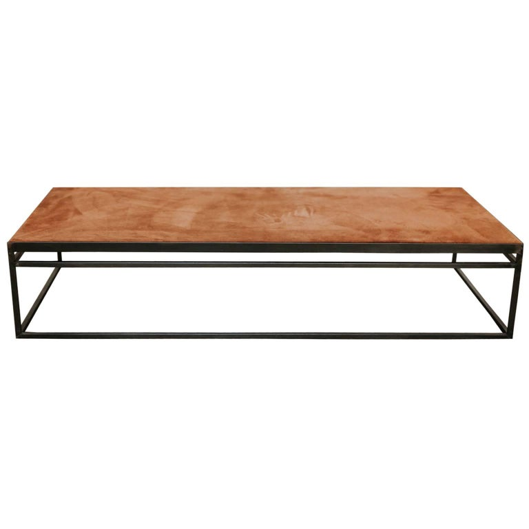 Customized Coffee Table, Old Suède/Leather Top on Iron Base
