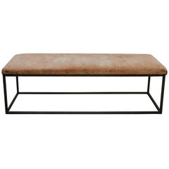 Customized Coffee Table or Bedend, Old Leather Top on Contemporary Iron Base