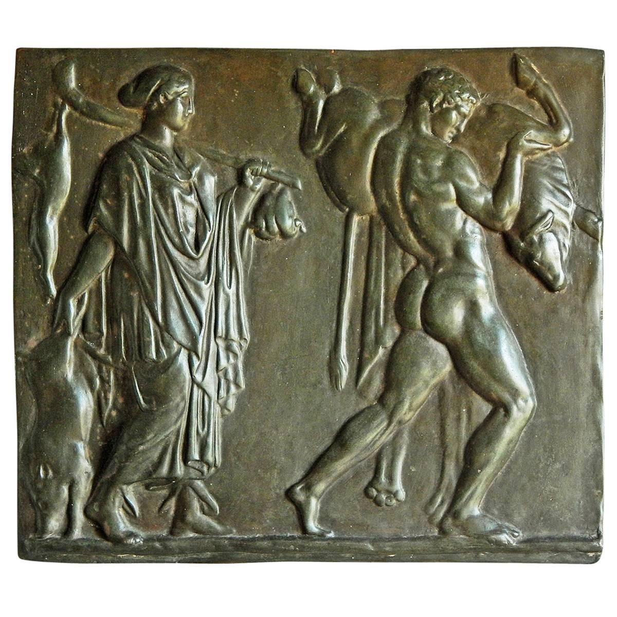 """""""Mythological Panel with Hercules and the Bull,"""" Bas Relief with Nude"""