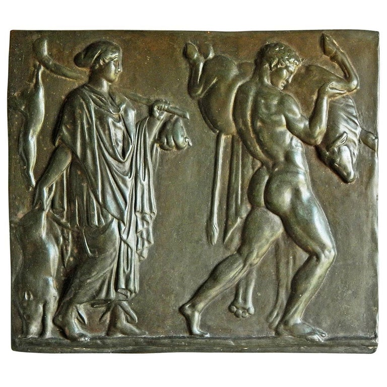 """""""Mythological Panel with Hercules and the Bull,"""" Bas Relief with Nude For Sale"""