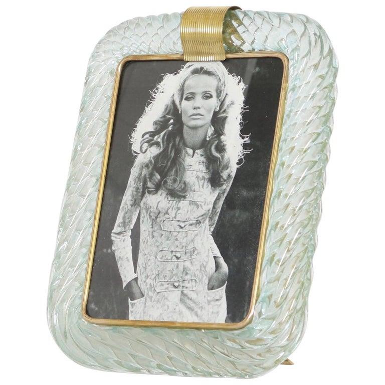 Venini Torciglione Murano Glass Frame in Aqua with Gold Inclusions