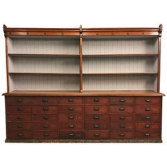 French Antique Kitchen Cabinet with Bank of Drawers