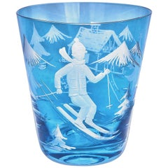 Country Style German Tumbler Blue Crystal with Skier Sofina Boutique Kitzbuehel