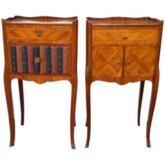 Pair of Transitional Inlay Wood Side Tables One with Faux Leather Books Exterior