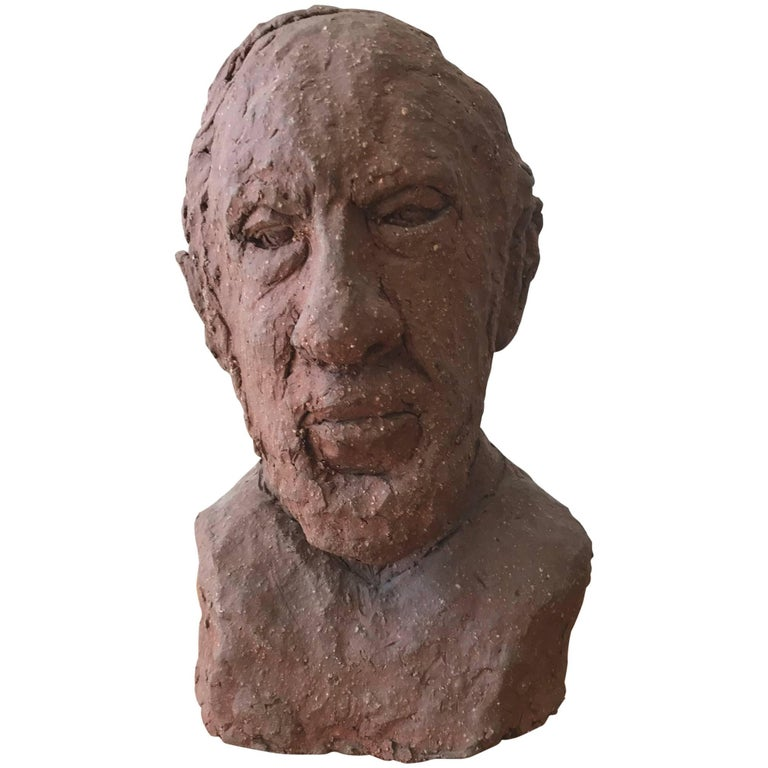Midcentury Terracotta Bust of a Man by Joyce Pines For Sale