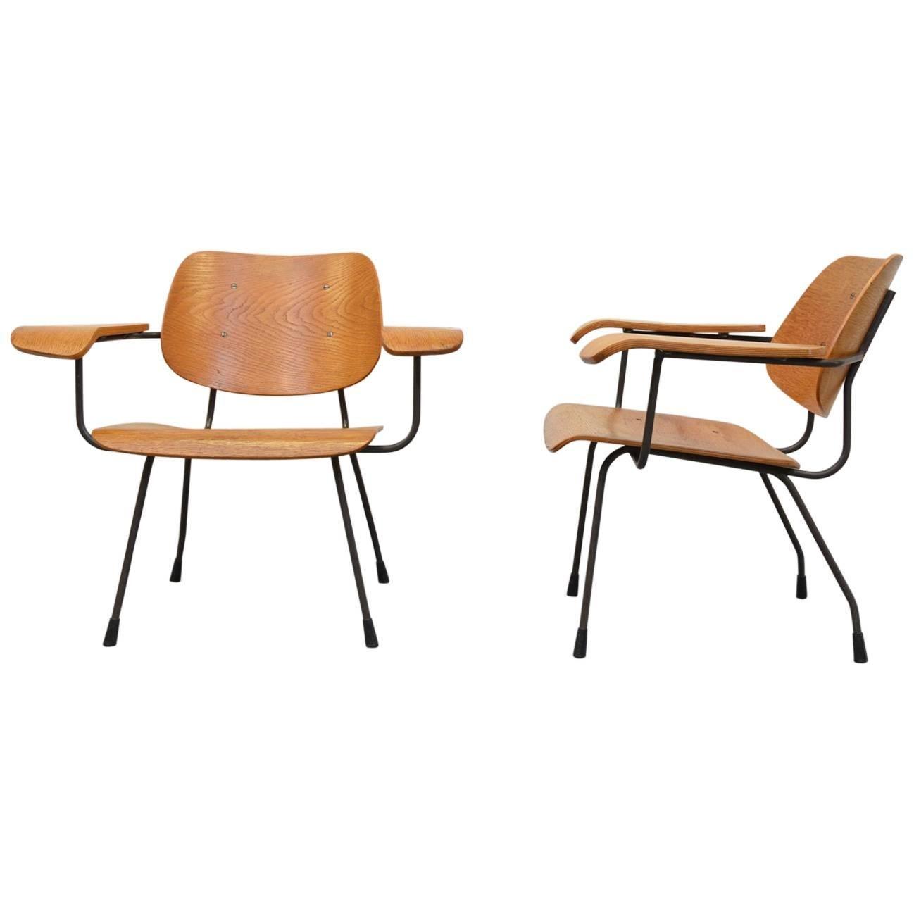 Easy Chairs Model 8000 in Oak by Tjerk Reijenga for Pilastro, Netherlands