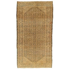 Antique Malayer Carpet, Handmade Oriental Rug, Ivory, Taupe, Gray, Green, Fine