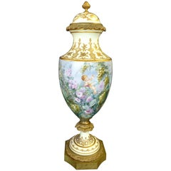 19th Century Hand-Painted Sevres Covered Urn Mounted in Gilt Bronze, Signed