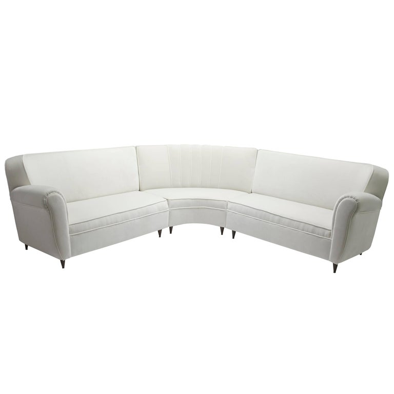 1950s Sectional Curved Italian Sofa Upholstered in Velvet