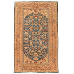 Antique Persian Sultanabad Carpet, Handmade Oriental Rug, Light Blue, Terracotta