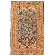 Antique Persian Sultanabad Carpet, Handmade Oriental Rug, Light Blue, Terracotta