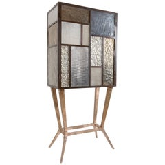 Tableau Drinks Cabinet, Murano Glass Drinks Cabinet with Cast Bronze Base