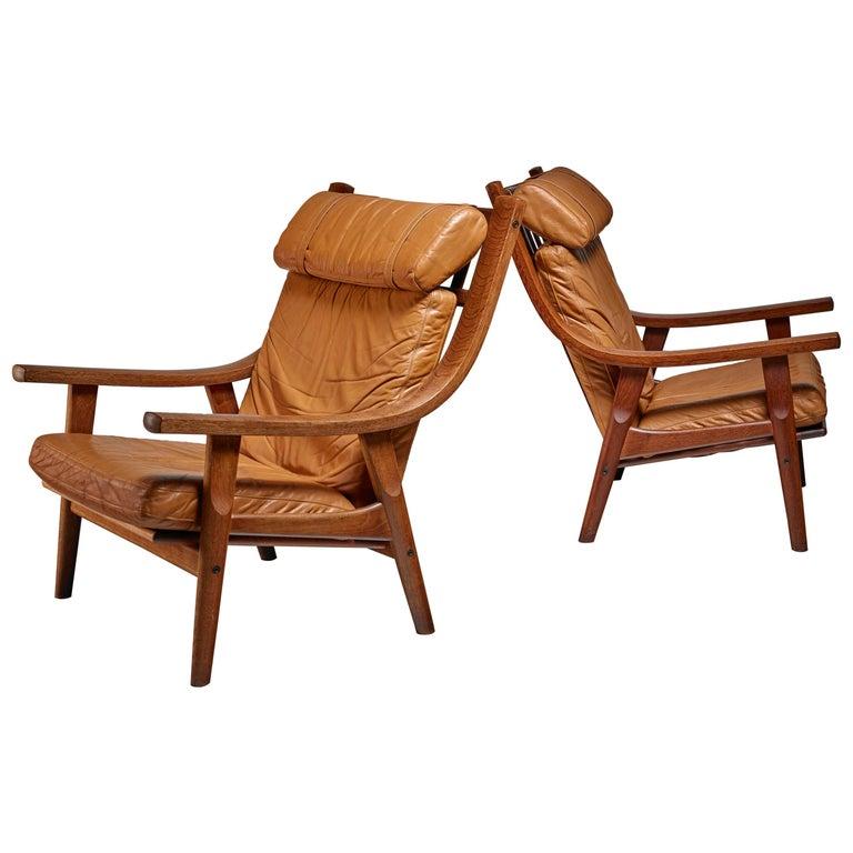Hans Wegner Pair of Lounge Chairs, Denmark, 1970s