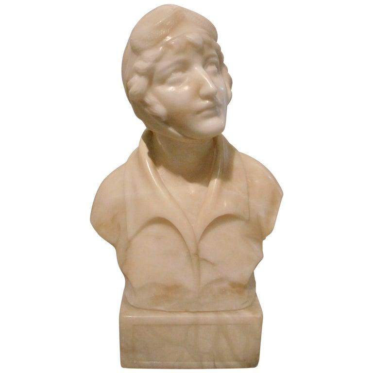 Alabaster Sculpture of Female Pilot Amelia Earhart 1920s Aviation Memorabilia