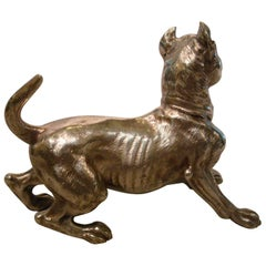 Big Silvered Bronze Vienna Dog Sculpture, Paperweight, 1900s