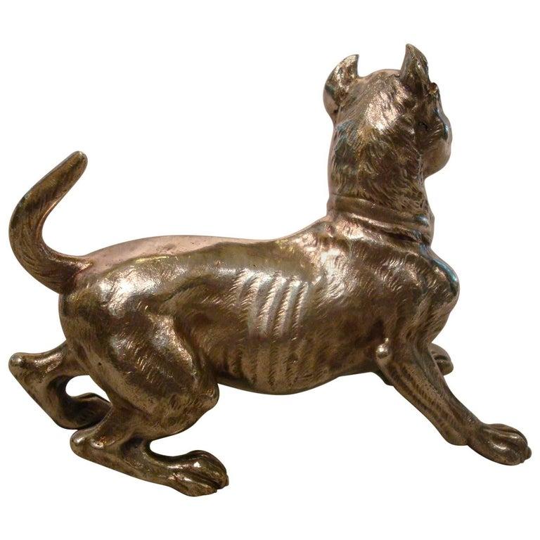 Big Silvered Bronze Vienna Dog Sculpture, Paperweight, 1900s For Sale