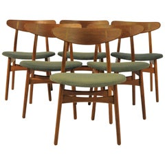 1950s Set of Six Hans Wegner Dining Chairs CH30 in Oak, Teak and Green Fabric