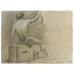 Late 18th Century Graphite and Pastel Drawing of a Male Nude Artist Study