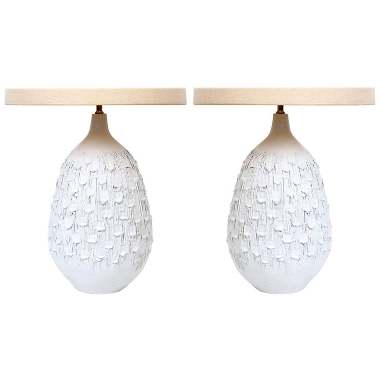 Pair of Incised White Ceramic Lamps