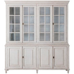 19th Century Swedish Gustavian Four-Door Glass Vitrine Bookcase Cabinet