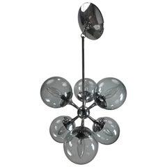 Classic Lightolier Sputnik Pendant Light Fixture, Smoke Glass Globes