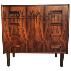 Danish Midcentury Rosewood Small Chest of Drawers with Peg Legs