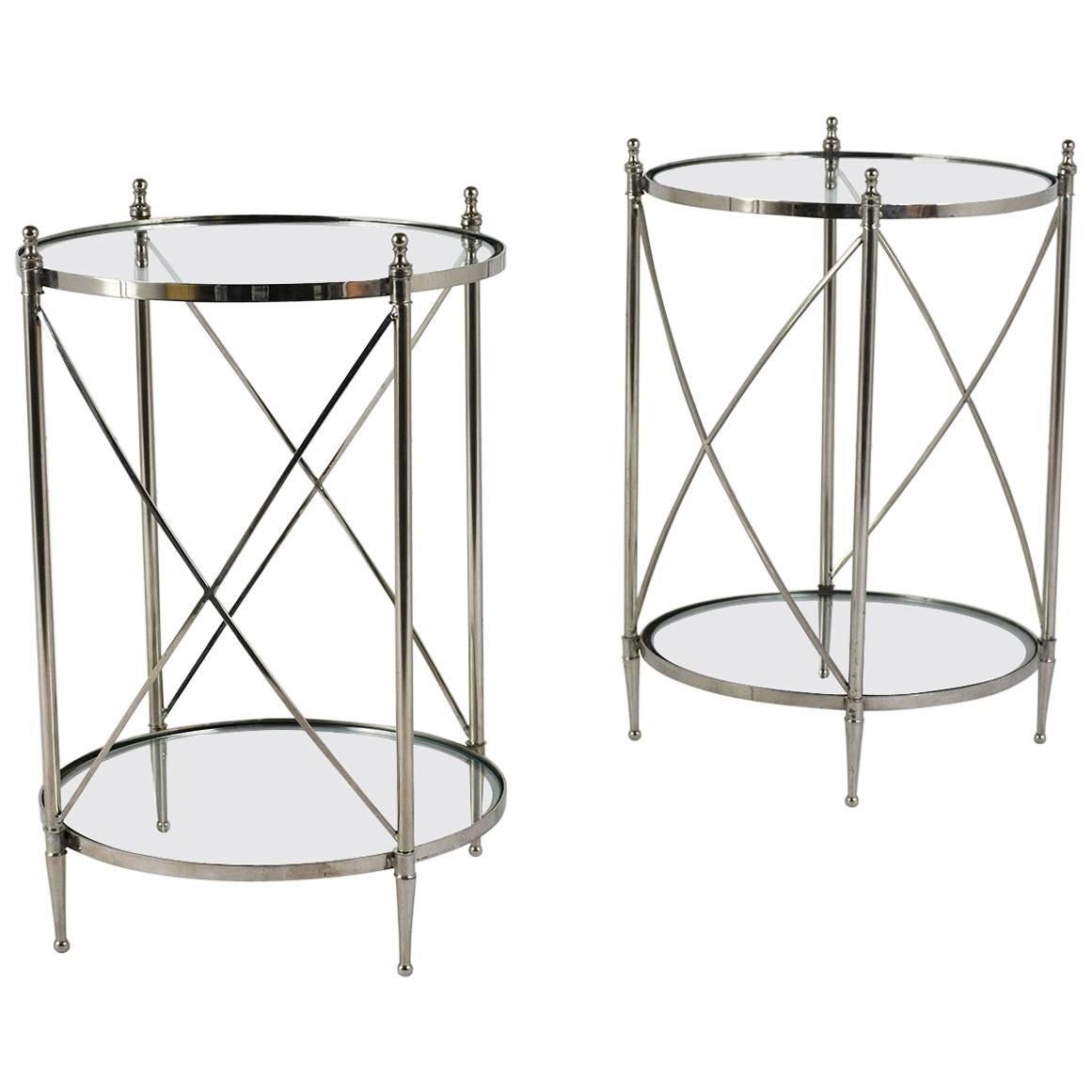 Pair of Chrome and Glass Side Tables