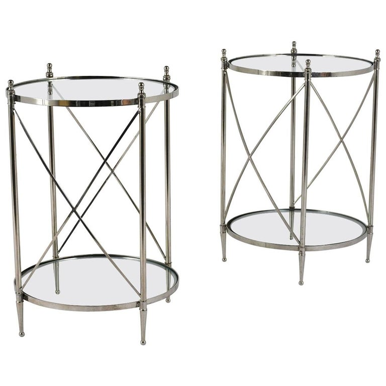 Pair of Regency-Style Chrome and Glass Side Tables