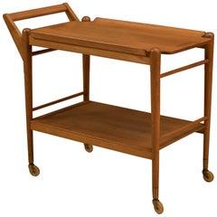 Midcentury Two-Tier Oak Bar Cart Trolley