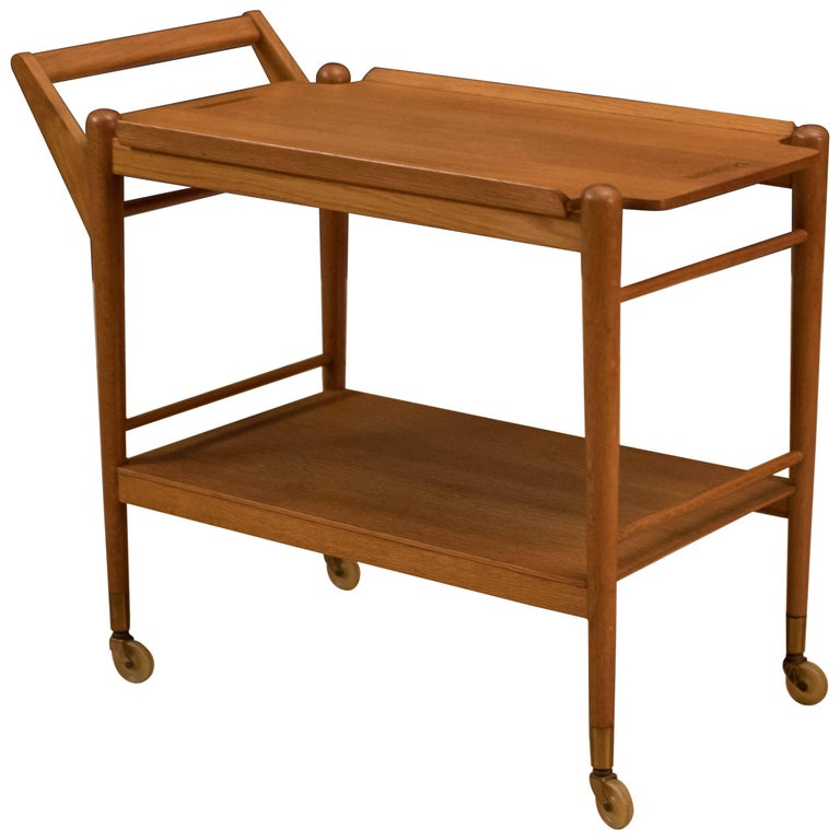Midcentury Two-Tier Oak Bar Cart Trolley