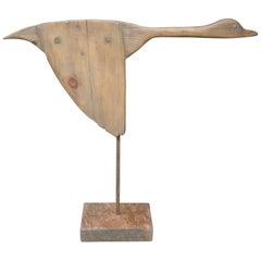 Carved Wooden Flying Goose, Duck Sculpture