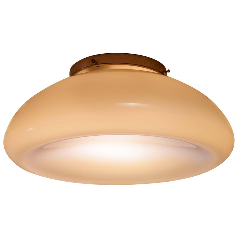 Idman Large Round Concave Ceiling Lamp, Finnish, 1930s