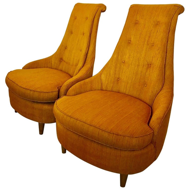 Pair of Karpen High Back Slipper Chairs For Sale