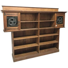 Liberty & Co. Arts & Crafts Oak Bookcase Stain Glass and Copper Hinges & Handles
