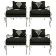 Maison Jansen Set of Four Harlequin Arm Chairs