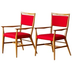 Paul McCobb Pair of Red Upholstered Armchairs, 1950s