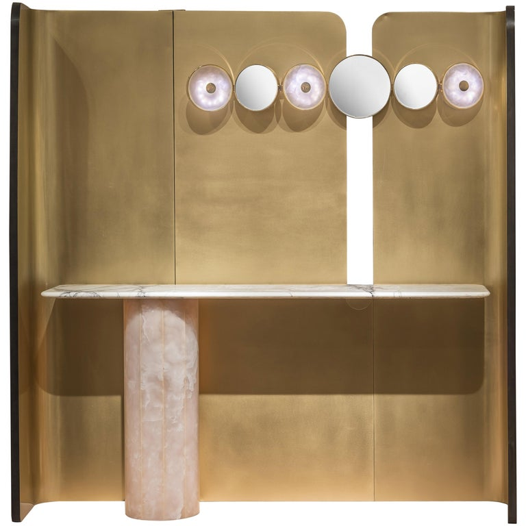 'Jintang' Installation, Screen, Wall Light, Console with pink jade foot  For Sale