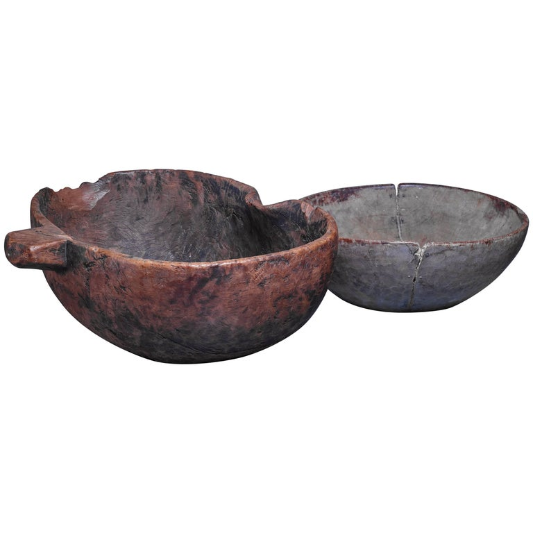 Pair of Folk Art Wood Bowls, Sweden, 19th Century