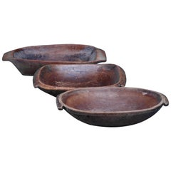Pair of wooden folk art bowls, Sweden, 19th Century
