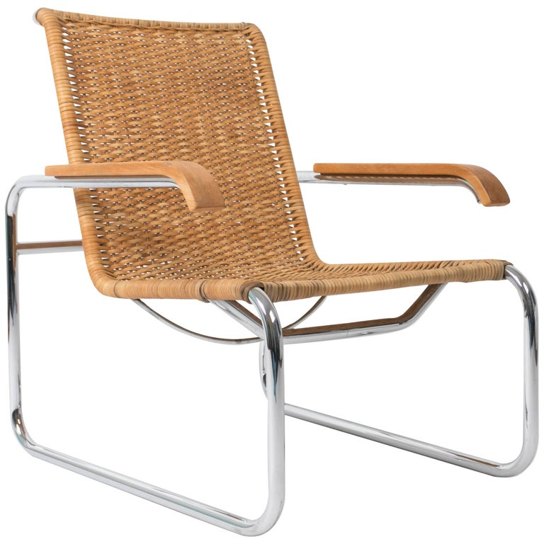 marcel breuer for thonet b35 rattan lounge chair for sale at 1stdibs. Black Bedroom Furniture Sets. Home Design Ideas