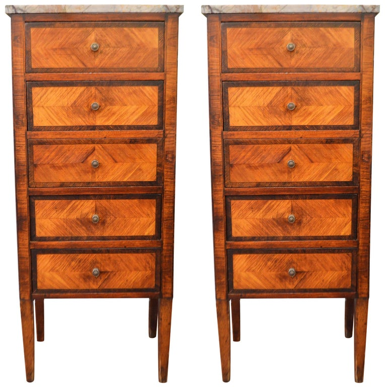 Pair of Louis XVI Style Inlay Wood Lingerie Chests, Five Drawers and Marble Tops