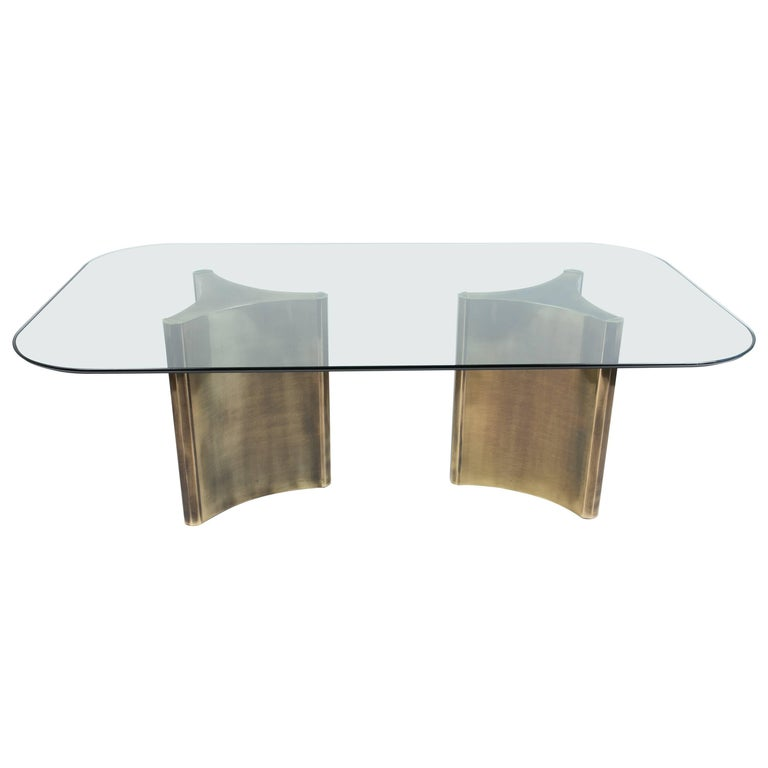 Mastercraft Dual Pedestal Dining Table With Gl Top For