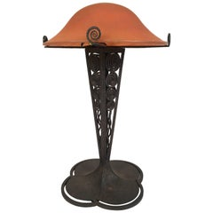 French Art Deco Lamp with Daum Art Glass Shade and Wrought Iron Base