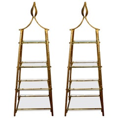 Pair of Gilded Bamboo Metal, Pyramid Shape Bookcases with Glass Shelves