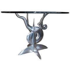 Striking Cast Aluminum Table Base with Glass Top