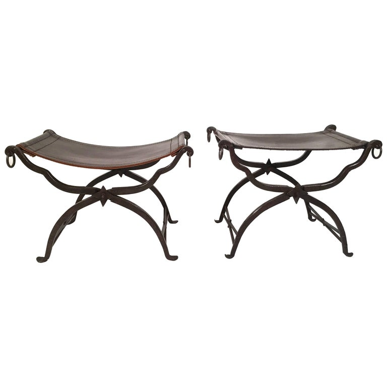 Matched Pair Of Leather And Iron Morgan Colt Stools Or